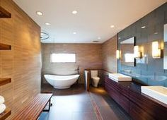 open plan bathroom