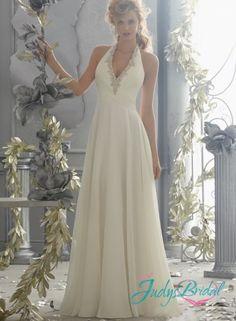 JW14291 sexy halter open back flowy chiffon destination wedding dress