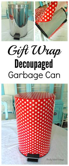 Decoupage a garbage can for a custom look to match any decor style. via @thriftyrebel