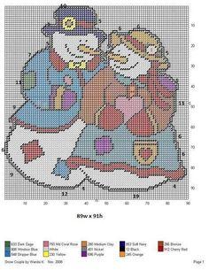 SNOW COUPLE by WANDA K. -- WALL HANGING