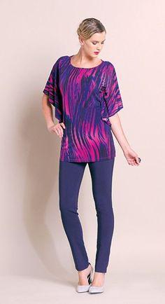 cb4a52e3841f7 Print Knit Cascade Sleeve Tunic - Fuchsia - Final Sale!