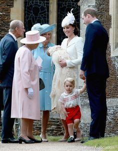 July 5, 2015 - Also in attendance for the big day were the royal family and the Middletons, who all arrived by car. Clearly, they all colour coordinated in matching soft pastels: the Queen in pink, Camilla in robin's egg blue, Kate's mom, Carole, in cream and Auntie Pippa in cream. Photo: Kensington Palace (@kensingtonroyal via Twitter)
