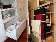 Below the shelves on the bookshelf in the bedroom is a slide out hamper drawer. So fabulous! No more clunky hampers taking up floor space!
