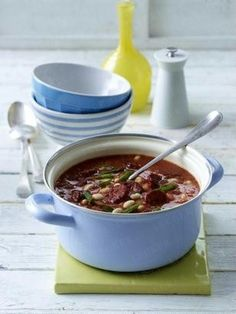Bean and tomato soup with chorizo and cream yogurt recipe