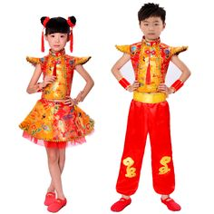 Perform Drum Costumes Gold Red Color Children Fan Yangko Classical Dance Costumes Stage Performance Clothing Easy To Lubricate Stage & Dance Wear Chinese Folk Dance
