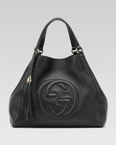 Gucci Soho Leather Shoulder Bag, Black