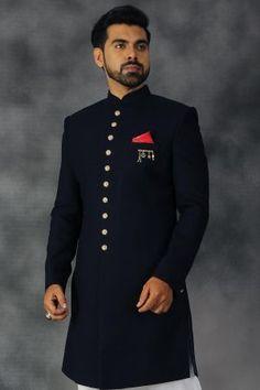 Buy Indigo Metal Embroidered Italian Indo Western Sherwani Online Mens Double Breasted Blazer, Indiana, Mens Shalwar Kameez, Indian Groom Wear, Sherwani, Westerns, Chef Jackets, Men's Fashion, Reception