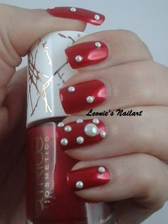 #31dc2 Day 1 Red or Orange. Red it is ;)  Catrice Metallure c01 Alluring Red with small and big pearls Leonie's Nailart
