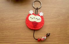Red Owl felt keychain with glass beads. Felt keyring .Pendant -charm with glass beads