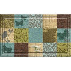 Indoor/ Outdoor Floral Blocks Doormat (18 x 30)