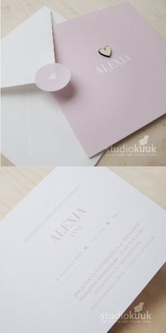 Lief en rustig geboortekaartje voor een meisje in lief roze met houten hartje_structuurpapier_klassieke letter_oud hollandse envelop_sluitsticker met hartje #www.studiokuuk.nl