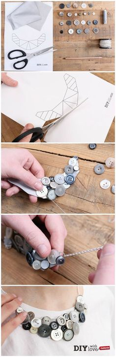#necklace #diy #jewelry #button