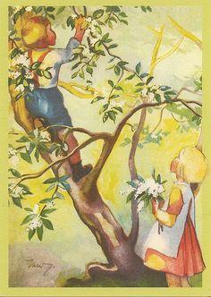 Martta Wendelin Finnish artist who has drawn many postcards Cottage Art, Children's Book Illustration, Illustration Children, Christmas Art, Illustrations Posters, Vintage Illustrations, Vintage Postcards, Vintage Children, Martini