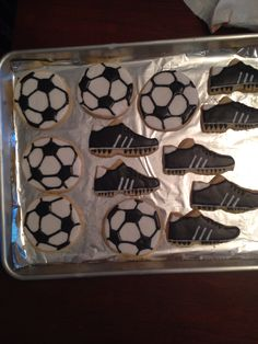 Soccerball and cleat cookies