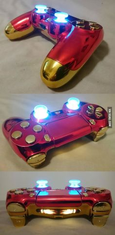 I am Iron Man the custom PlayStation 4 controller. - Playstation - Ideas of Playstation Ps4 Controller Custom, Game Controller, Iron Man, Playstation Games, Ps4 Games, Ps4 Video Games, Playstation 4 Console, Games Consoles, Manette Xbox One