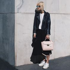 31 Perfect Outfits To Copy This May #refinery29  http://www.refinery29.com/2016/05/109647/new-outfit-ideas-may-2016#slide-15  If you're not totally on-board with ditching your all-black-everything aesthetic, consider swapping out your everyday black bag for a piece that's slightly more colorful.Pomikaki bag....