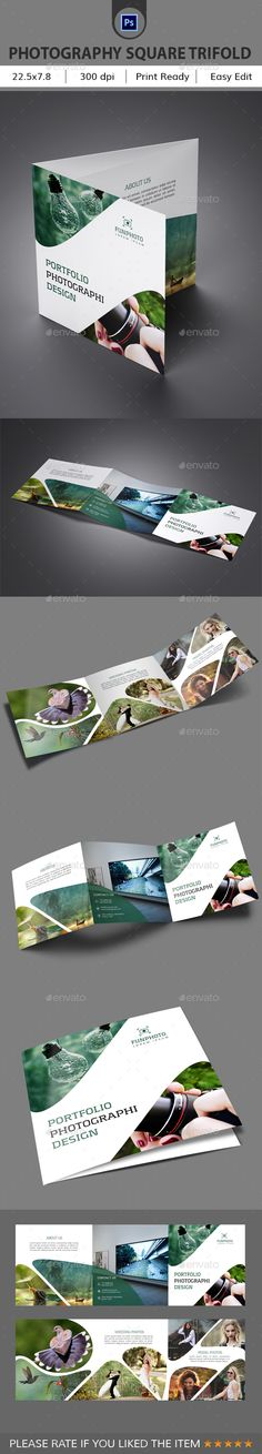 Photography Square Trifold Brochure Template PSD