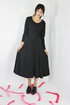 vtg day dress black long sleeve maxi dress swing skirt button down dress minimalist dress medium