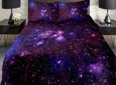 Amazing Shining Purple Galaxy Print 4-Piece Duvet Cover Sets - beddinginn.com