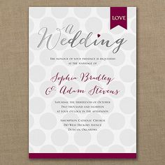 Large, bubbly polka dots cover the background of this vertical invitation, fading as they go. Love is tagged in the upper right corner and a solid band in a coordinating color edges the bottom.