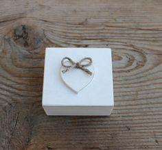 Ring Bearer Box / White Wooden Box / Rustic Wedding by NeliStudio