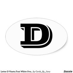 Letter D Vineta Font White Oval Stickers by Janz