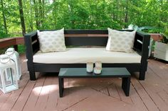 Build your own DIY outdoor furniture at a fraction of the cost to purchase it new! This modern styled outdoor sofa is the average 72 couch size, can be left in the outdoors, and will make your outdoor living space great for entertaining...not to mention stunning!