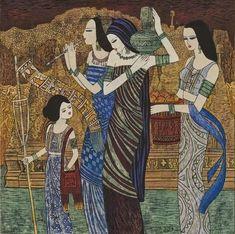 "Chen Yongle-Women with Waist Flowers Fine Art Canvas Print 36/"" X 24/"""