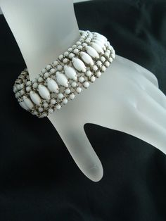 vintage milk glass bracelet