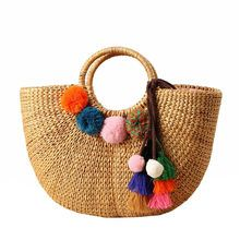 DCOS-Womens Vintage Straw Woven Handbags Casual Beach Vacation Large Tote Bags With Round Handle Ring(Hairball) Summer Handbags, Summer Bags, Bags Online Shopping, Online Bags, Round Straw Bag, Tote Bags Handmade, Straw Tote, Lv Bags, Handbags On Sale