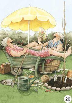 Inge Look illustrator. Old Lady Humor, Old Women, Old Ladies, Illustrators, Whimsical, Old Things, Illustration Art, Artsy, Drawings