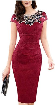 ad922eef455 COOCOl dress Womens Dresses Vintage Fabric Ruched Pencil Bodycon Evening  Dress 201 Red 5XL at Amazon