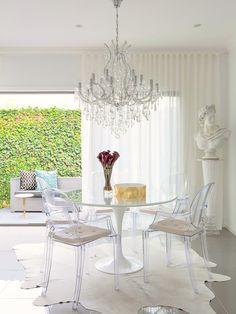 Acrylic Lucite | Ghost Chairs | Eero Saarinen | Tulip Table | Dining Room Ideas | Modern Furniture