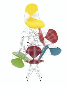"""Delicious Eames wire chairs in many different colors of """"bikini"""" upholstered pads.  From Vitra in Europe and the Middle East."""