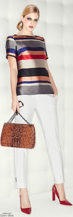 Escada Pre-Fall 2015: Beautiful Striped Silky Blouse, Crisp White Pants, Snake Print Bag, RED Shoes, Hair in Low Bun, Smoky Blue Eyes & Pink Lips, Neutral color Nails.