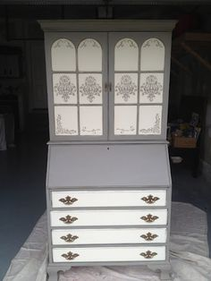 Secretary in French Linen and Old White