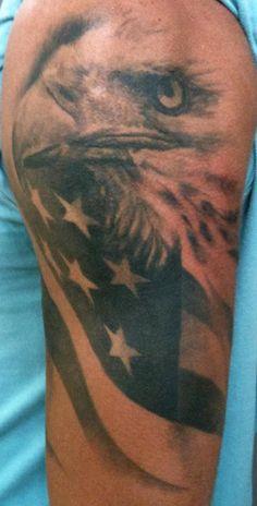 American Eagle Flag Tattoo   American Flag Tattoo Bicepblack Ink Eagle Tattoo On Biceps Tattooshunt ...
