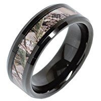 8mm Men's Tungsten Ring Real Oak Camouflage Black Plated Wedding Band Size 8-16
