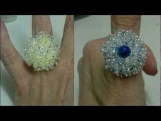 Beading4perfectionists : Swarovski / miyuki ring on a round brick stitch setting beading tutorial - YouTube
