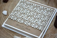 Lace Wedding Invitations Rustic Wedding Pocket by PaperStudioByC