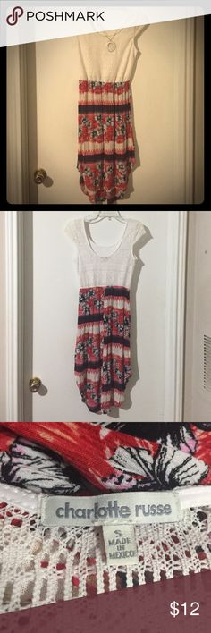 Charlotte Ruse Dress Charlotte Russe dress. A knit top with a tribal style high-low skirt. Lightly used, no defects. In great condition. Made of polyester and rayon Charlotte Russe Dresses High Low