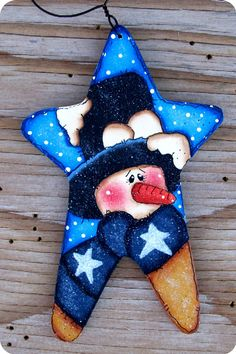 Snowman in a Star Ornament por CountryCharmers en Etsy, $7,50
