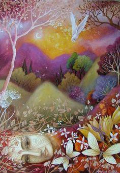 y Earth Angels Art. Art and Illustrations by Amanda Clark: A painting for Lisa. Lapin Art, Art Visionnaire, Art Fantaisiste, Illustrator, Clark Art, Goddess Art, Wow Art, Art Graphique, Visionary Art