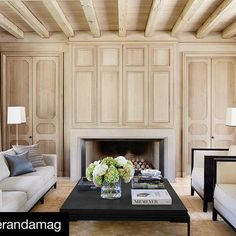 We are excited to see another photo of our project shared in @verandamag. Decorated by our friend and talented designer @lizhandwoods. @cathymcgowin  #Repost @verandamag with @repostapp ・・・ Walls paneled in white oak set off contemporary furnishings in an Alabama home. | Photo: @melanieacevedophoto, Design: Liz Hand Woods