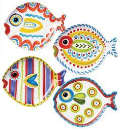 Fish-Fish Assorted Fish Shaped Plate Set of 4 by Vietri Pottery Painting, Ceramic Painting, Ceramic Artists, Nautical Theme Decor, Coastal Decor, Coastal Style, Fish Art, Fish Fish, Paint Your Own Pottery