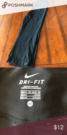 """Nike Dri-fit Crops Sz xs Work out pants are in great condition, only selling because they're a bit (ahem) too tight (I prefer slouchy). Inseam 19"""", waist 13"""" flat unstretched. One itchy tag removed as shown. Pants Ankle & Cropped"""
