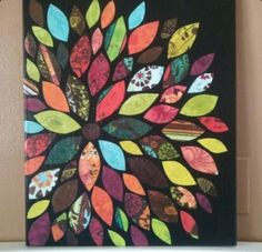 Scrapbooking paper glued onto a canvas painted black... Looks cool! :)