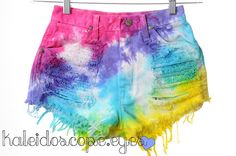 Tie Dye Denim High Waist Shorts   65 bucks  or just go buy white jeans at Good Will, cut them off, and tie dye them  diy for probably 20-25