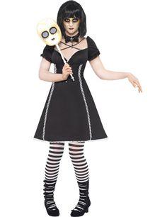 Horror Puppe Halloween Damenkostüm schwarz-weiss