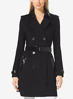 Mixed-Media Trench Coat  by Michael Kors